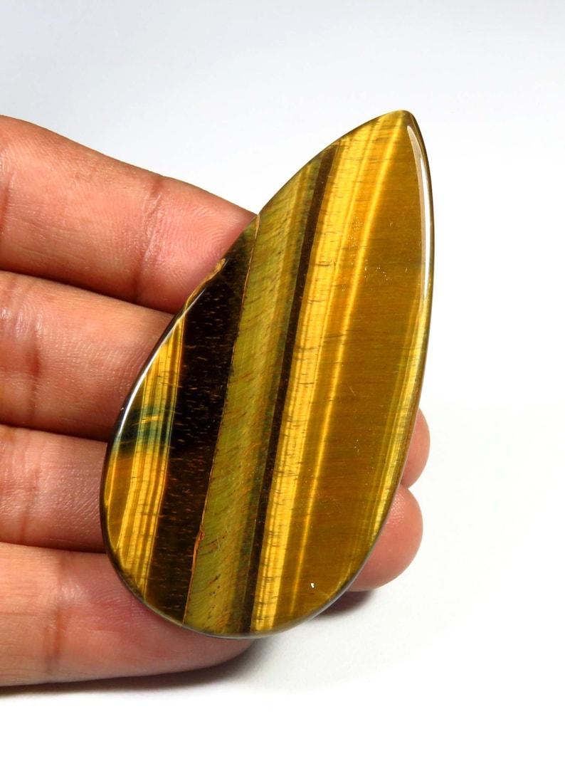 Pear Shape Tiger Eye Cabochon 60x29mm Yellow Blue Tiger Eye Tiger Eye Loose For Jewelry Use UNIQUE~~ Natural Tiger Eye Gemstone AH-639