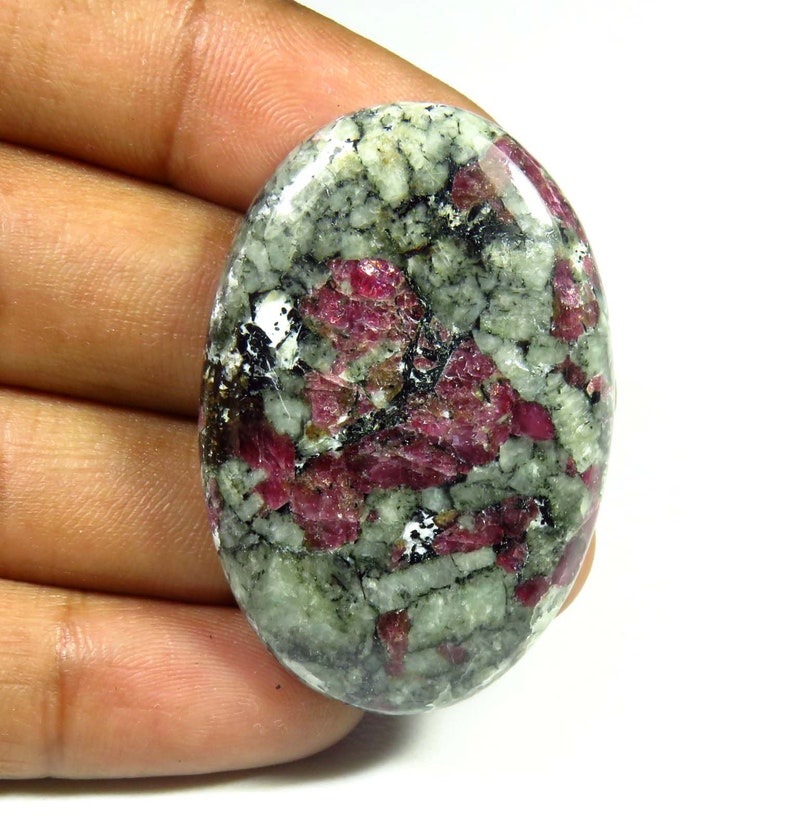 Eudialyte Loose For Jewelry Making Eudialyte Oval Shape TOP QUALITY~~ Natural Eudialyte Gemstone 66cts AH-739 Eudialyte Cabochon