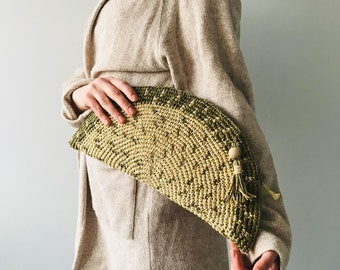 1996 Gold Coiled Rope Clutch and Shoulder Bag.