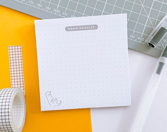 Brain Doodles Memo Pad | Modern Dotted Notepad 10cmx10cm | Square Luxury Stationery | 50 Page Planner Pad