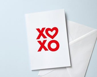 Simple XOXO Greeting Card | A6 Size Valentine's Day, Anniversary, Wedding, Special Occasion | Romantic Heart Card
