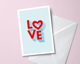 Love Greeting Card | A6 Size Valentine's Day, Anniversary, Wedding, Special Occasion | 3D Lettering Romantic Heart Card