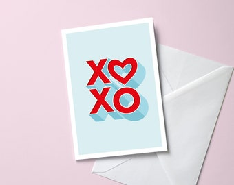 XOXO Greeting Card | A6 Size Valentine's Day, Anniversary, Wedding, Special Occasion | 3D Lettering Romantic Heart Card