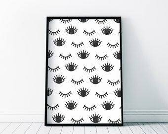 Eyes Poster | Winking Eyelashes | Wall Art Beauty Salon Print | Decor Gift | A3 A4 A5 A6 & Frame Sizes | Contemporary Quirky Poster