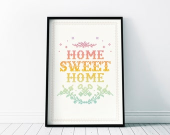 Home Sweet Home | Decor Gift Wall Art | Housewarming , Forever Home Gift | Lettering Embroidery Cross-stitching Poster