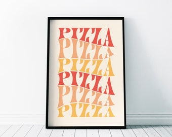 Pizza Pizza Poster | Kitchen Decor | Wall Art Home Print | Decor Gift | A3 A4 A5 A6 & Frame Sizes | Contemporary Lettering 50s Quirky Poster