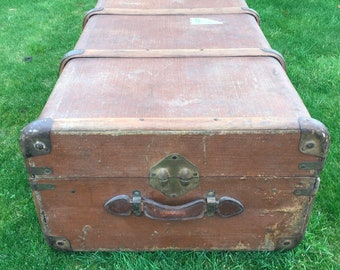 Large Vintage Bentwood Steamer Trunk