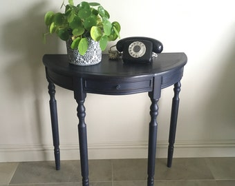In The Navy Demi Lune Console Table