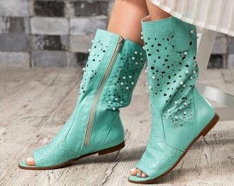 Summer openwork perforated western cowboy boots low heel block heel perforated genuine leather western boots knee high openwork summer boots
