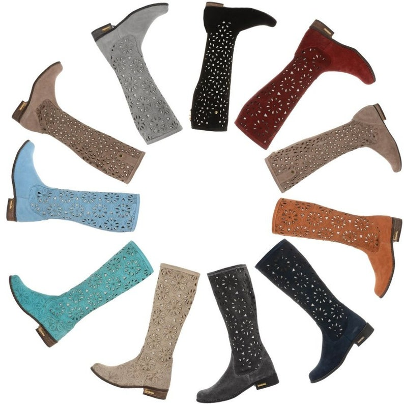 Women laser cut Perforated Boots Spring openwork boots genuine suede leather knee high western cowboy flat casual boho style summer booties