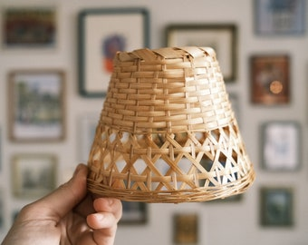 Small Bamboo Woven Lamp Shade / Vintage Wicker Bamboo Woven Lamp Shade