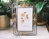 Vintage 4x6 quot Silver and Gold Tone Metal Ornate Picture Frame