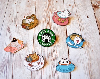 Cats & Coffee Pin Collection