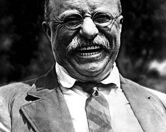 """Historical Poster Print: 26th U.S. President Theodore """"Teddy"""" Roosevelt, Laughing - Restored Satin Finish Photo - Available in 6 Sizes!"""