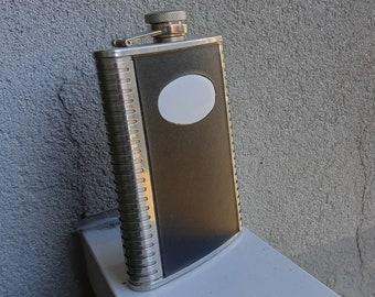 Hip flask Vintage flat bottle Pocket metal Russia stainless Soviet antique USSR