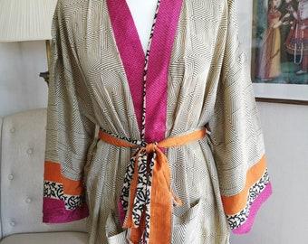 Recycled Silk Satin Mix Sari Boho Kimonos Regal House Robe Gold Mustard Urban Artistic Floral Duster Beach Coverup