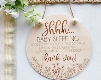 Sleeping Baby Sign // Shhh Baby Sleeping Sign // Do Not Ring Doorbell Sign