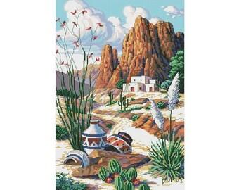 Wild West Cross Stitch Pattern   American Landscape  Cross Stitch   Instant Download PDF