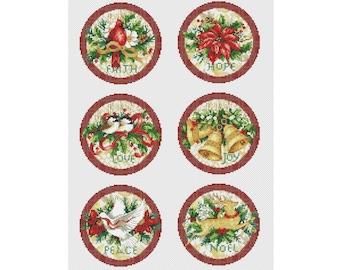 Christmas Ornaments Cross Stitch Pattern | Set of 6 Cross Stitch | Instant Download PDF