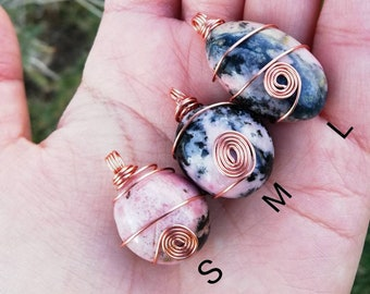 Najaf Jasper Rose Gold Wire Wrapped Tumbled Stones Apatite Carnelian Aura Quartz Spiral Pendant Necklace Calsedon Healing Crystals