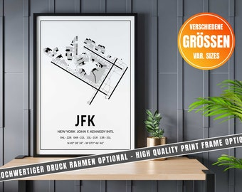 New York John F. Kennedy Intl Airport Map Art, Airport Code JFK Art Print in Various Sizes - Optional with Frame. Great gift idea!