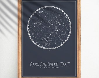 Starry Sky, Star Map - Customizable   Gift for wedding, anniversary, birthday with date, city and desired text   poster