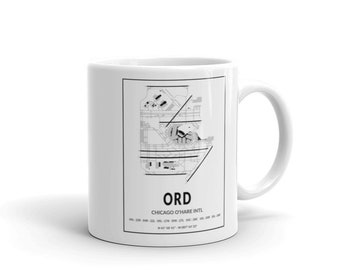 Coffee Mug Chicago O'Hare Intl Airport Airport Map Airport Code ORD Great Gift Idea!