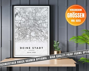 Custom City Map Print, Any City In The World, Various Map Sizes, Custom Street Map Poster Perfect Gift