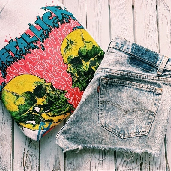 VINTAGE LEVI'S 501 Thrashed Denim Jean Shorts