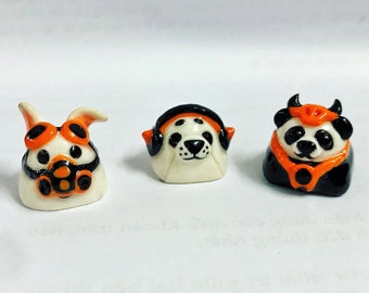 Black & Orange collection - artisan keycaps, polymer clay keycaps, wear a mask keycap, Handmade keycap, Personalized gift, cute style