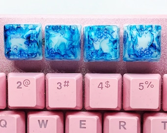 Blue porcelain pattern Artisan Keycap! Chinese floral vector, blue and white, unique textile art for gifts, personalized handmade keycap.
