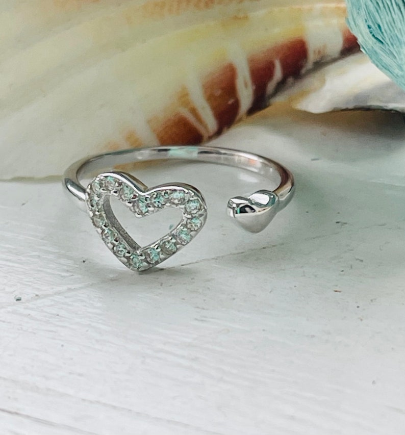 Sterling Silver Adjustable CZ Heart Toe Ring