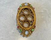 Ormolu Florenza Oval Gold Lipstick Holder Stand filigree, ornate, Jewels and Pearls 4 tube
