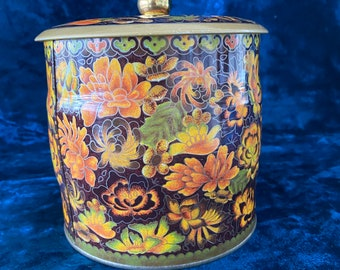 storage tins art nouveau style tins Daher decorative tins Set of 3 Boho tins Daher decorative ware paisley storage containers