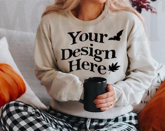 Gildan 18000 Sweatshirt Mockup - Sand Color - Heavy Blend Sweatshirt - Model Mockup - Fall Mockup - Halloween Mockup
