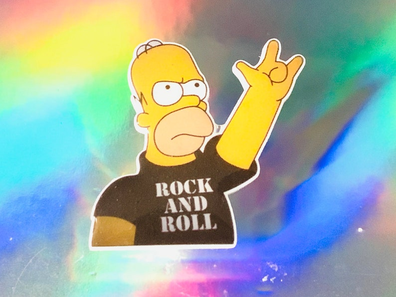 Acrylic Pin Brooch with gift Box Homer Simpson Rock and Roll