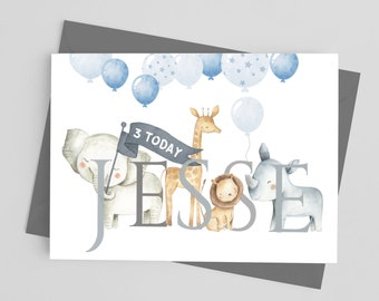 Card to shake. Birthday card boy Children/'s birthday card Birthday card Jungle map Birthday card Animal map