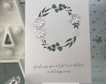 Wedding Card, Wedding Congratulations Card, Just Married Card, Wedding Card, Card For Bride & Groom, Wedding Day Card, White Paper Flowers