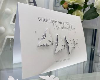 3D Butterfly Wedding Card, Wedding Congratulations Card, Just Married Card, Wedding Greeting Card, Card For Bride & Groom, Wedding Day Card