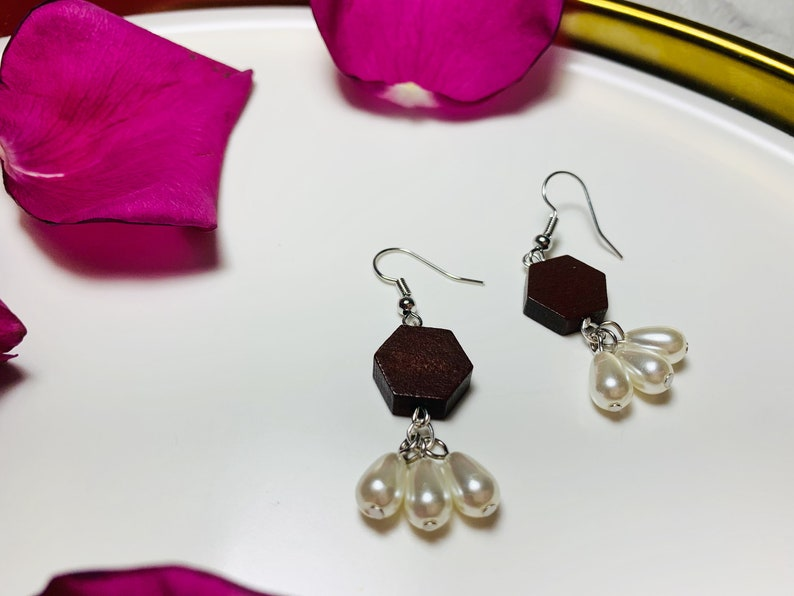 Wooden and Pearl Earrings