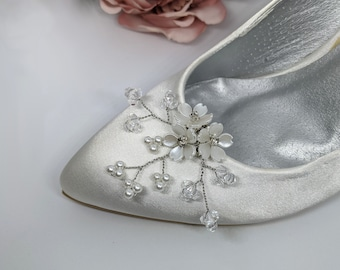 Bridal floral shoe clips (pair), faux pearl and crystal wedding shoe accessories, high heel flower embellishment