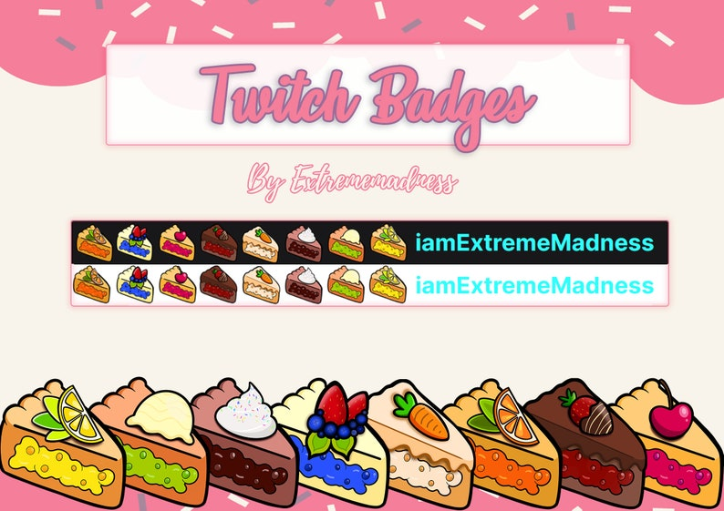 Cute Pie Sub-Bit Twitch Badges  Sweet Food Cake Shop Pastry image 0