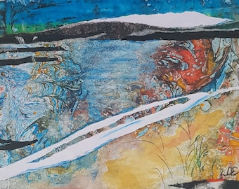 Hebrides shore Original  unique Art, mixed media collage ,  oil on paper  abstract expression landscape ,  wall art, pop ,modern painting
