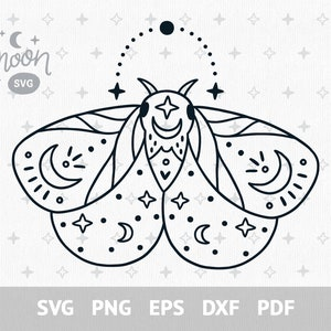 Celestial moth svg Boho butterfly svg file for cricut Magic insect clipart Celestial clip art png Instant download