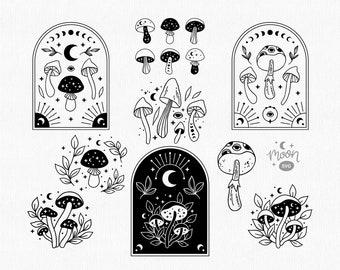 Mushroom svg bundle, Magic mushrooms svg, Celestial svg file, Mystical svg, Moon phases svg, Boho mushroom png clipart, Witchy shirt design