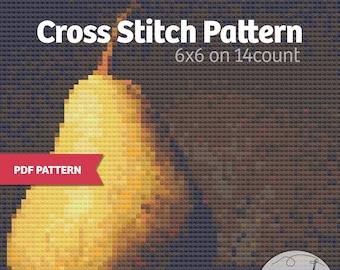 """Still Life Pear - PDF Cross Stitch pattern, immediate download, earth tones, 6""""x6"""""""