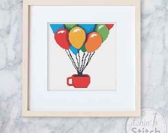 Par-Tea | Cross Stitch PDF pattern, Cross Stitch for Tea Lovers, Party Balloons pattern, Fun DIY Craft