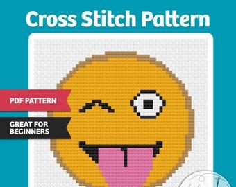 Winky Face - PDF Cross Stitch Pattern, Easy, great for beginners, kids, Emoji, fun