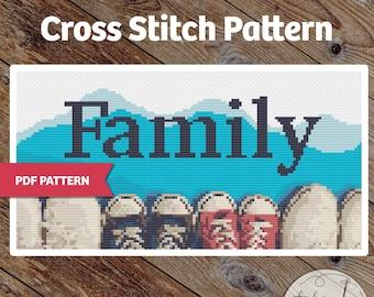 Family Shoes - PDF Cross Stitch Pattern - Great Housewarming gift, home decor