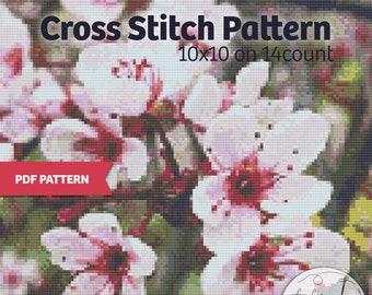 Purple Leaf Sand Cherry - PDF Cross Stitch Pattern - Blossom xstitch, pink, spring flower